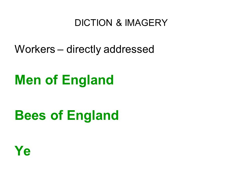 Men of England Bees of England Ye Workers – directly addressed