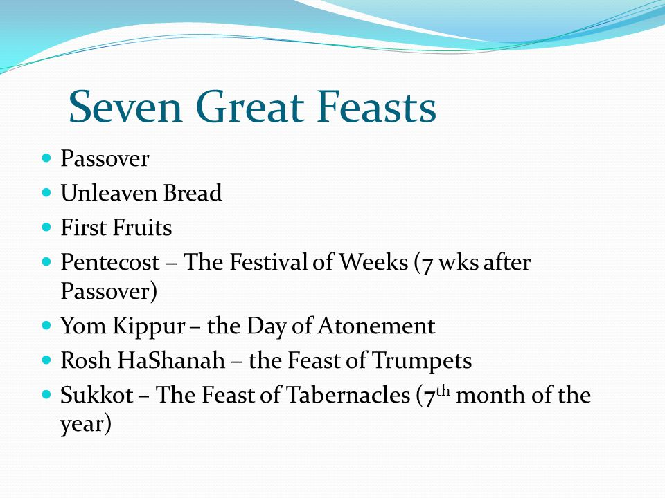 Seven Great Feasts Passover Unleaven Bread First Fruits