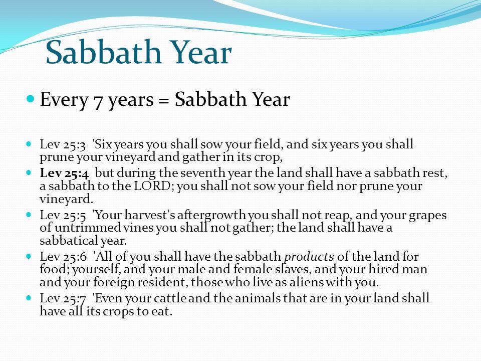 Sabbath Year Every 7 years = Sabbath Year