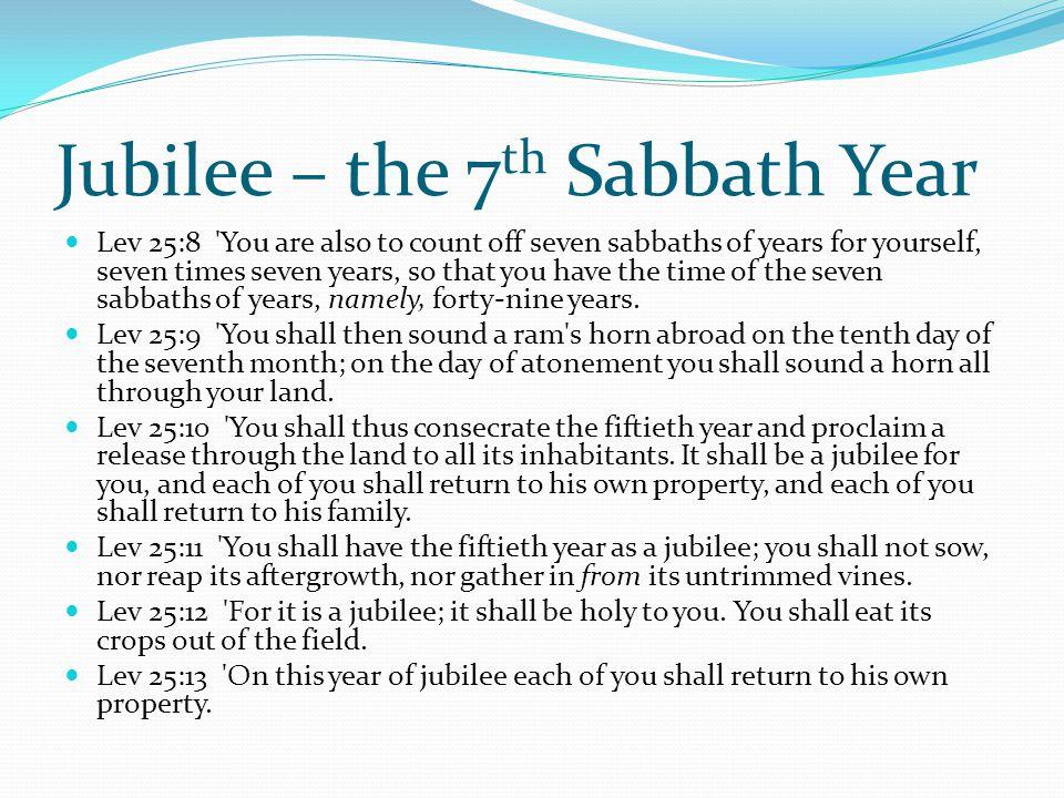 Jubilee – the 7th Sabbath Year
