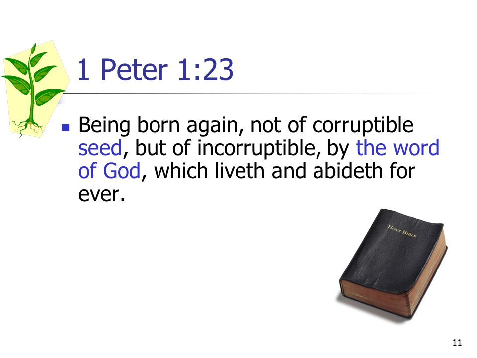 1 Peter 1:23 Being born again, not of corruptible seed, but of incorruptible, by the word of God, which liveth and abideth for ever.