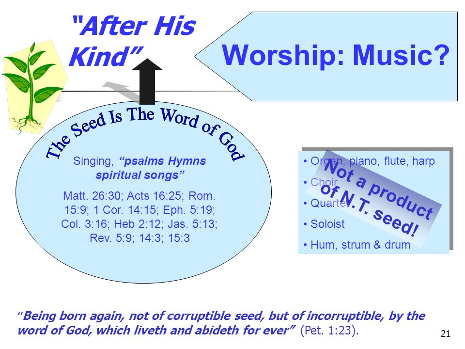 Worship: Music After His Kind The Seed Is The Word of God