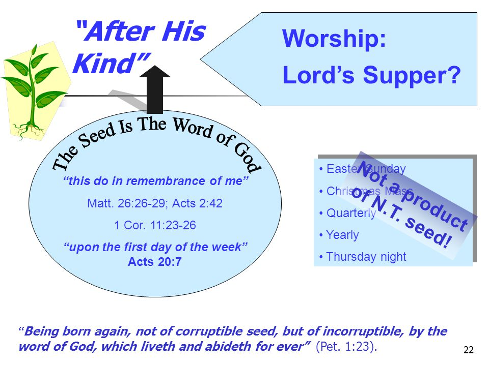 After His Kind Worship: Lord's Supper The Seed Is The Word of God