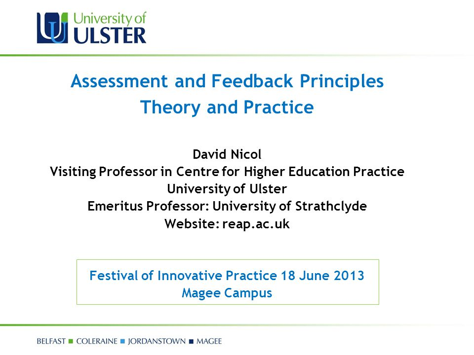 Assessment and Feedback Principles Theory and Practice
