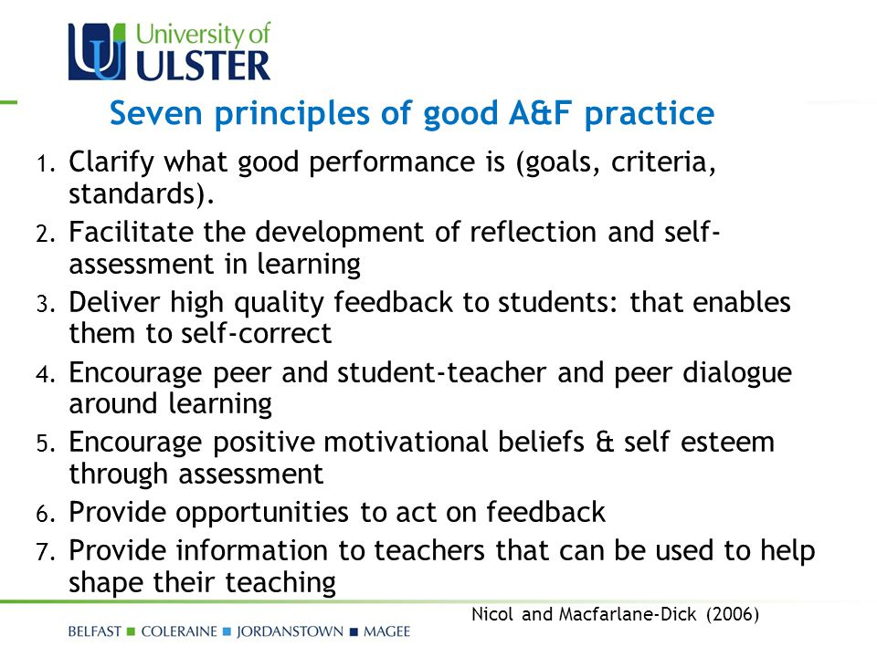 Seven principles of good A&F practice