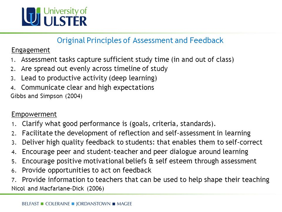 Original Principles of Assessment and Feedback