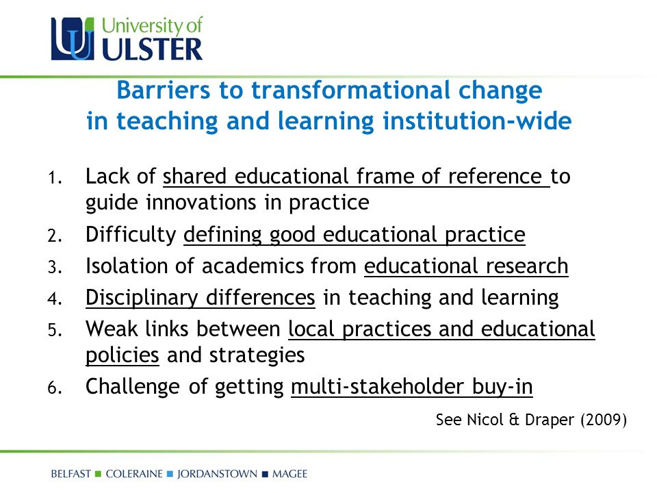Barriers to transformational change in teaching and learning institution-wide
