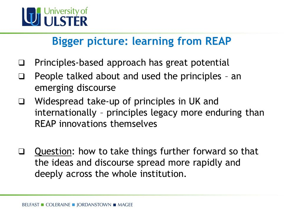 Bigger picture: learning from REAP