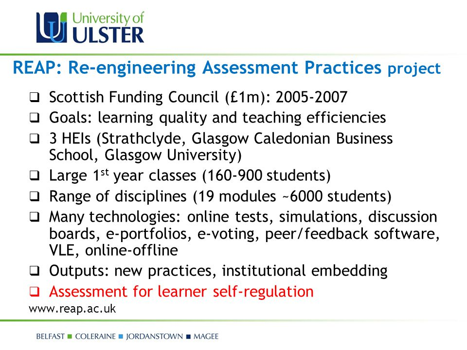REAP: Re-engineering Assessment Practices project