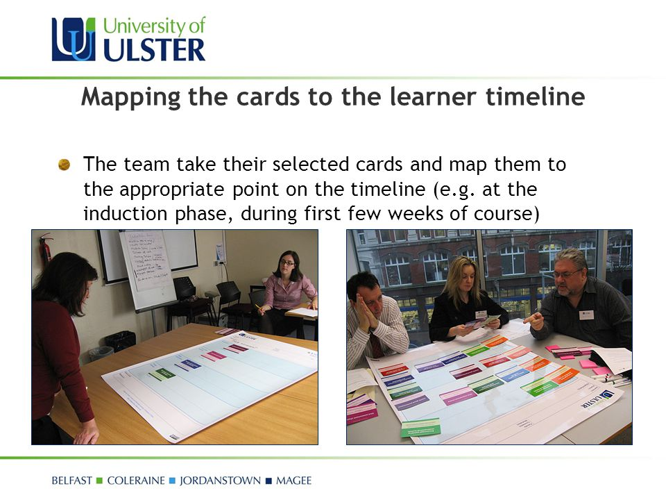 Mapping the cards to the learner timeline
