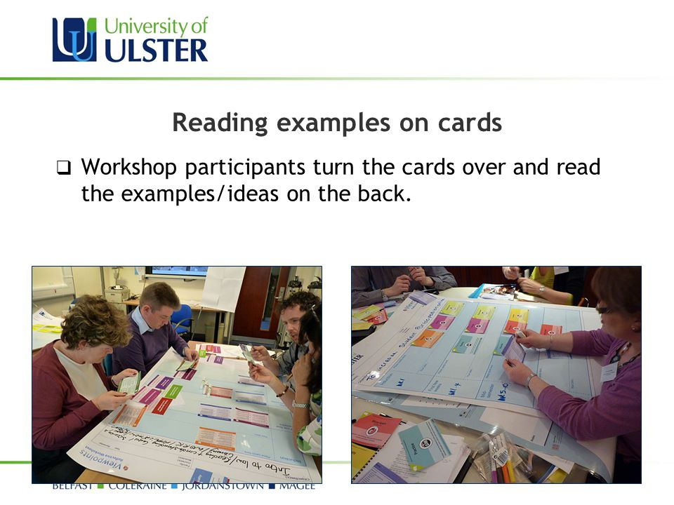 Reading examples on cards