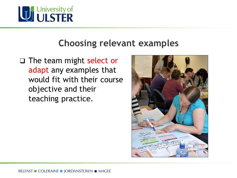 Choosing relevant examples