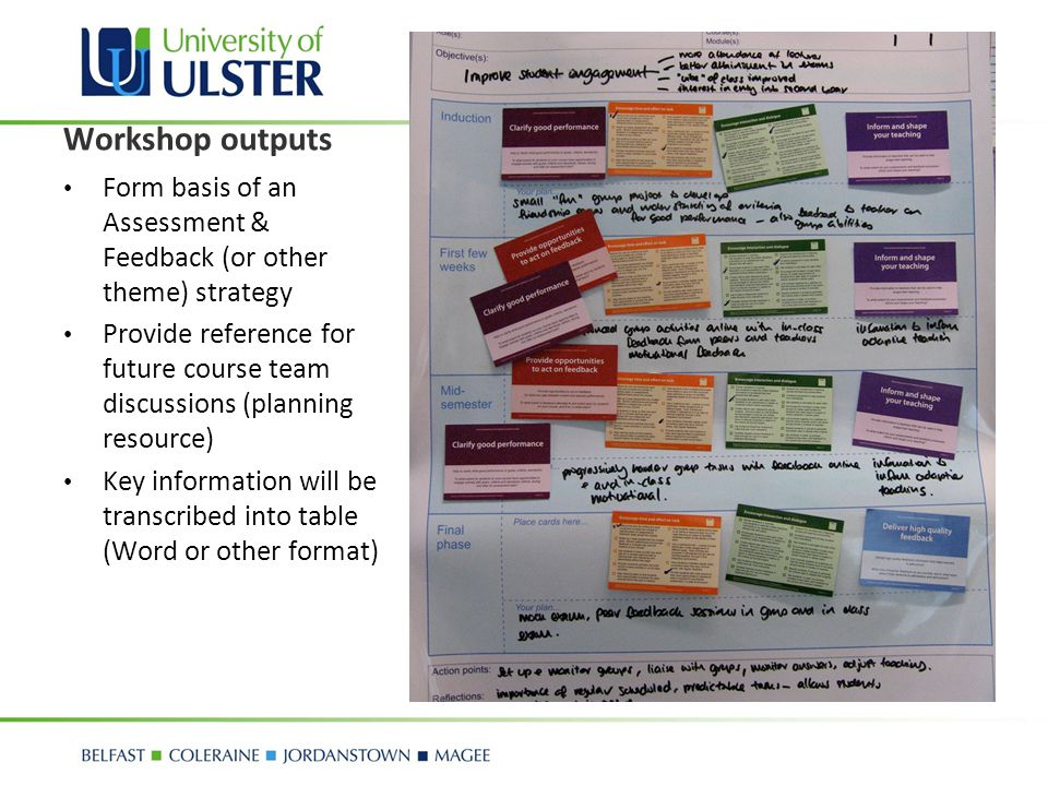 Workshop outputs Form basis of an Assessment & Feedback (or other theme) strategy.
