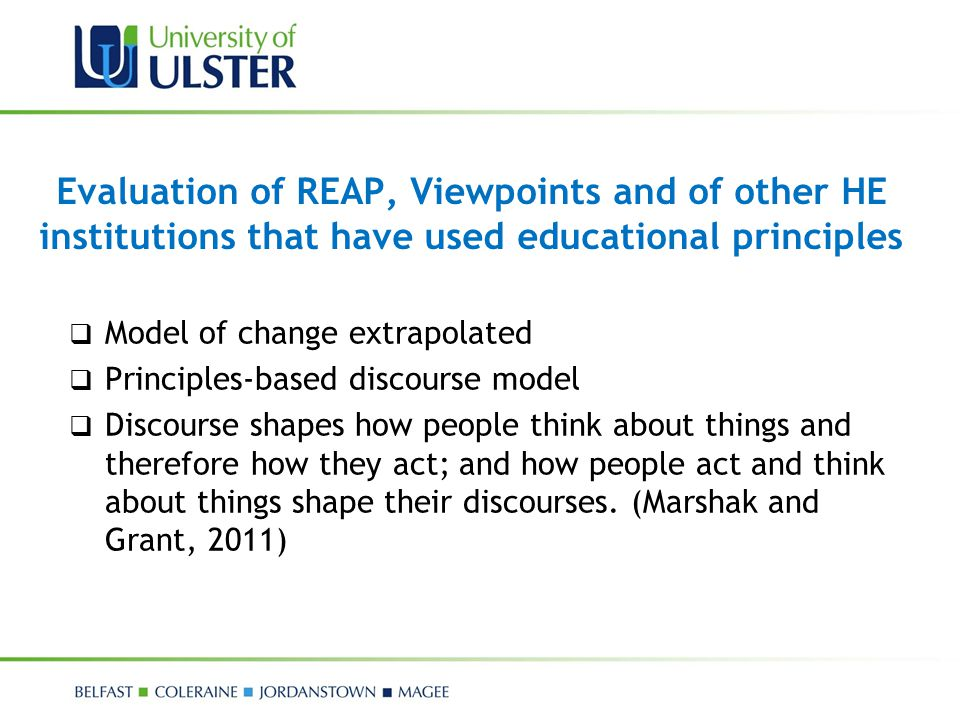 Evaluation of REAP, Viewpoints and of other HE institutions that have used educational principles