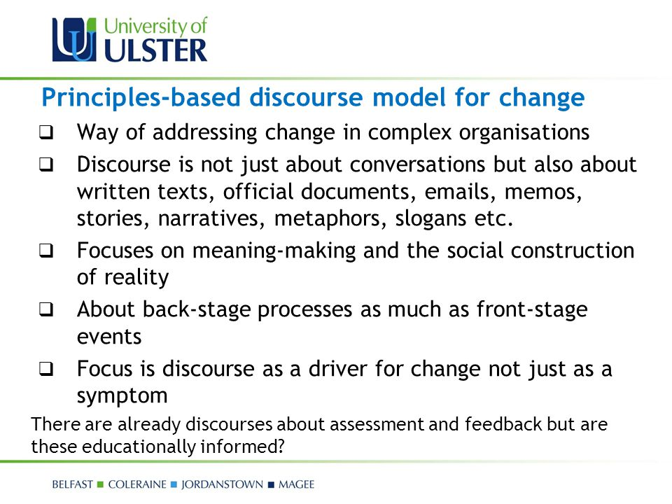 Principles-based discourse model for change