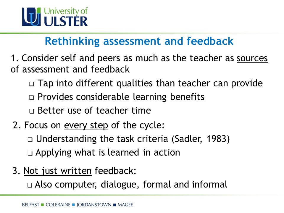 Rethinking assessment and feedback