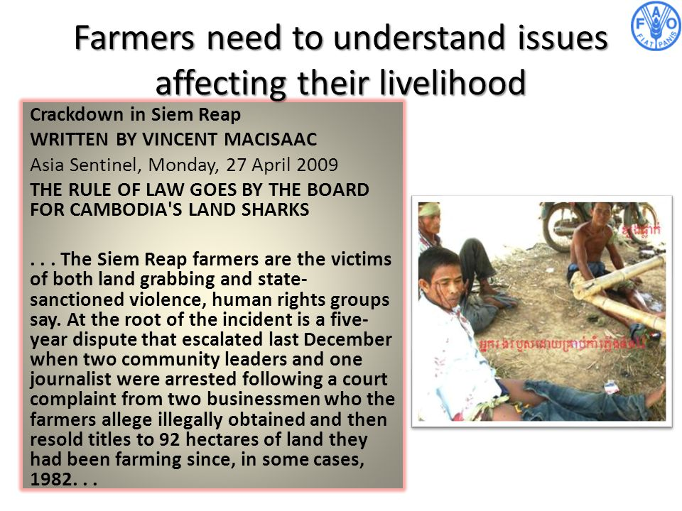 Farmers need to understand issues affecting their livelihood