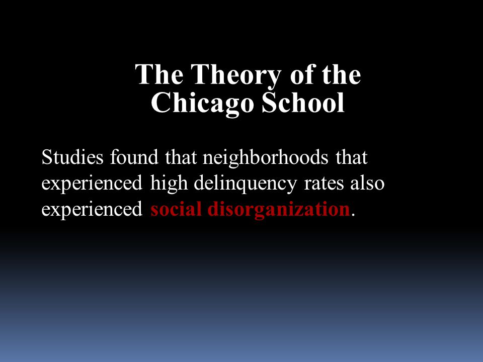 The Theory of the Chicago School
