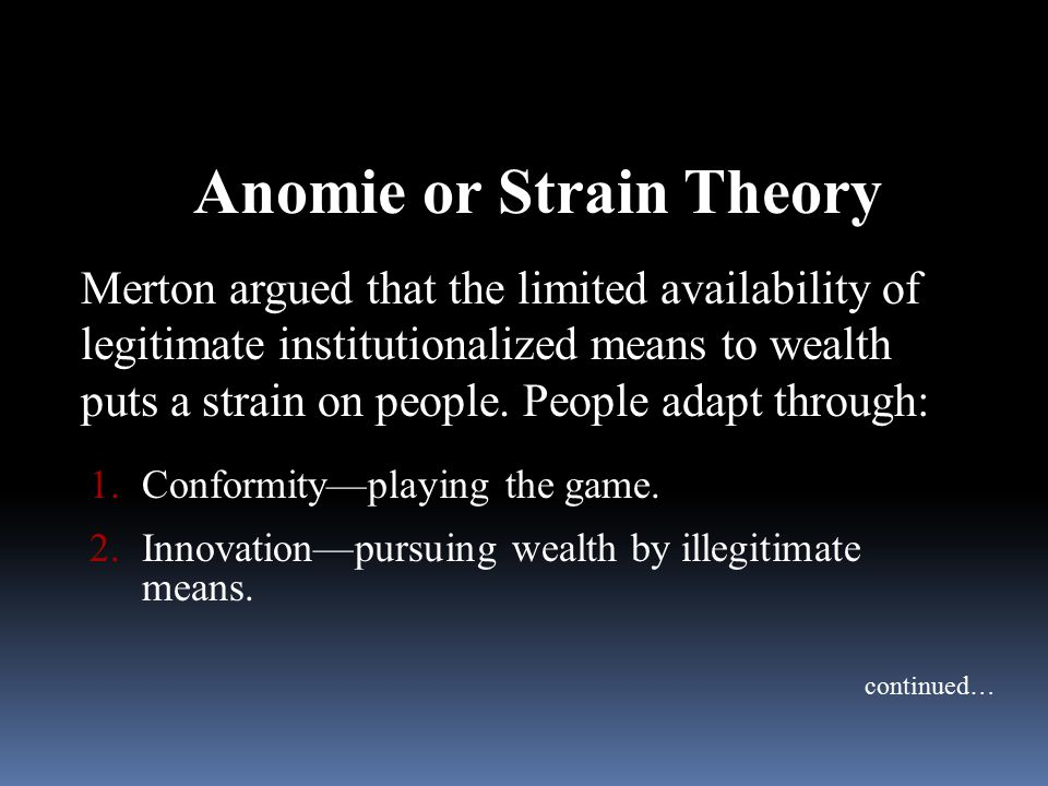 anomie strain theory essay This collection of original essays by key figures in the revival of anomie theory  thoroughly explores recent developments in the field and charts the future.