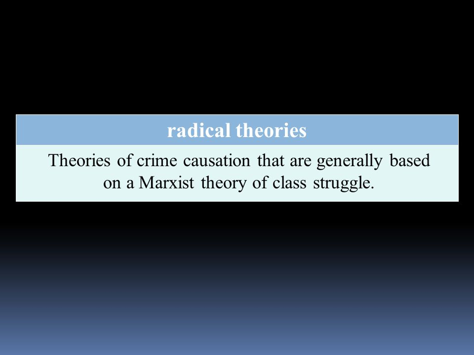 radical theories Theories of crime causation that are generally based on a Marxist theory of class struggle.