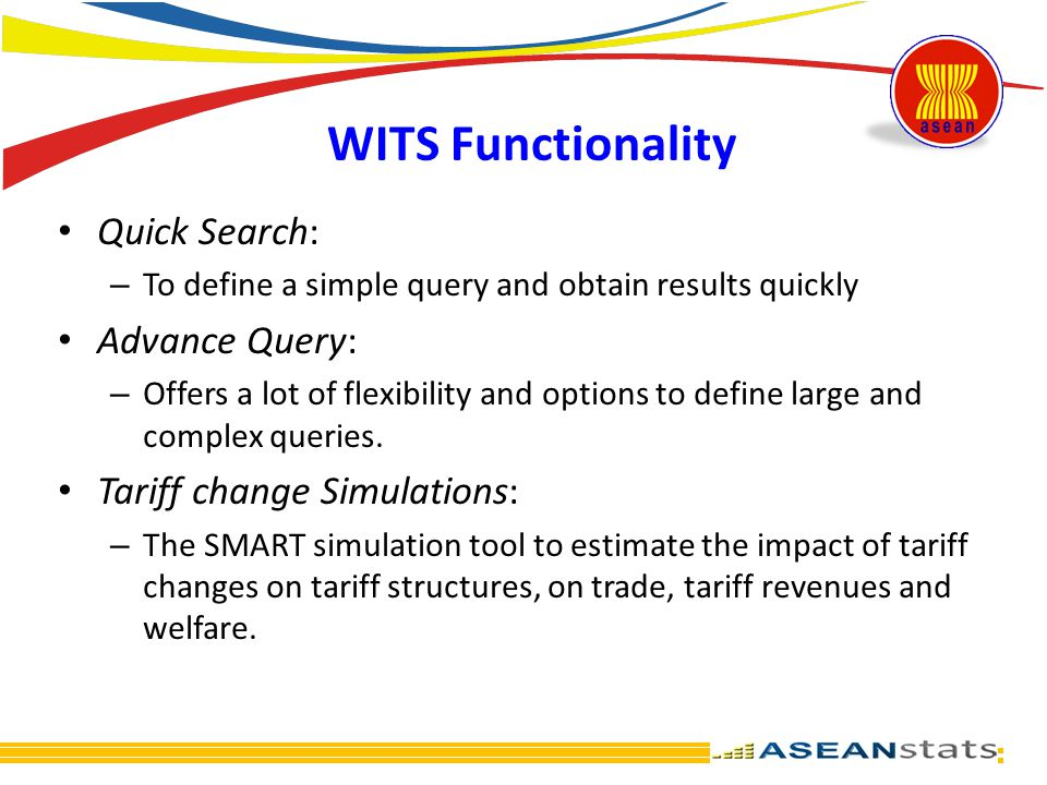 WITS Functionality Quick Search: Advance Query:
