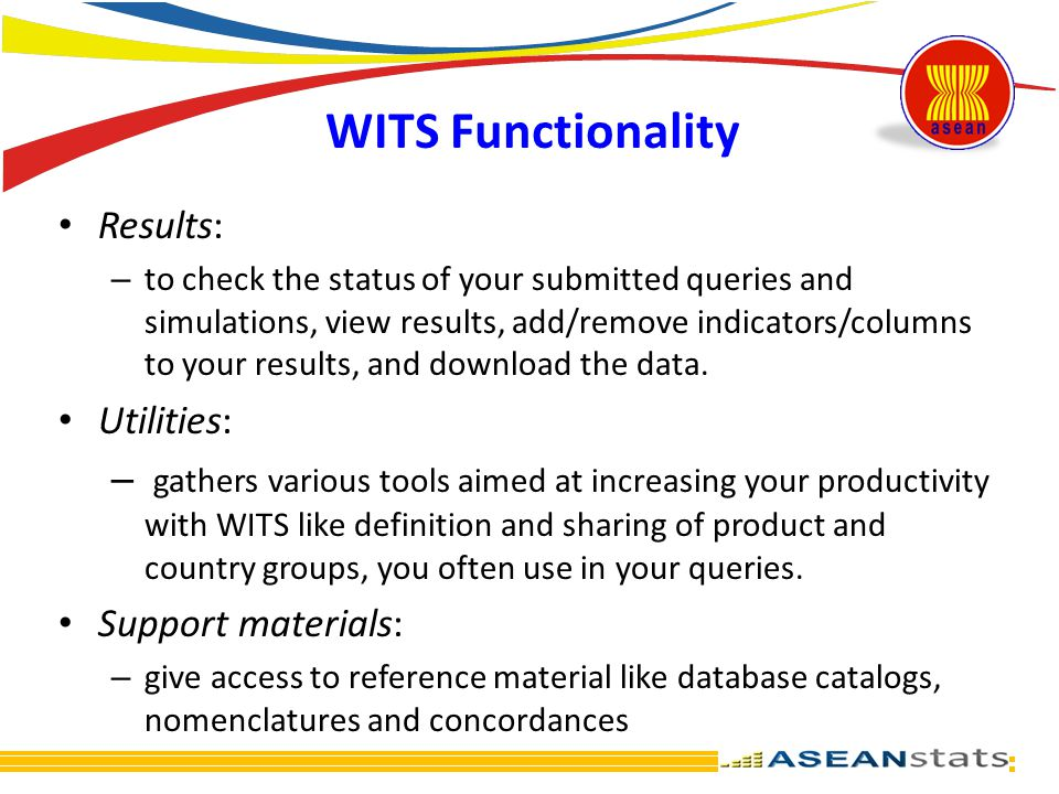 WITS Functionality Results: Utilities: