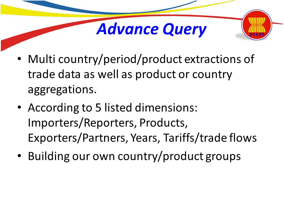 Advance Query Multi country/period/product extractions of trade data as well as product or country aggregations.