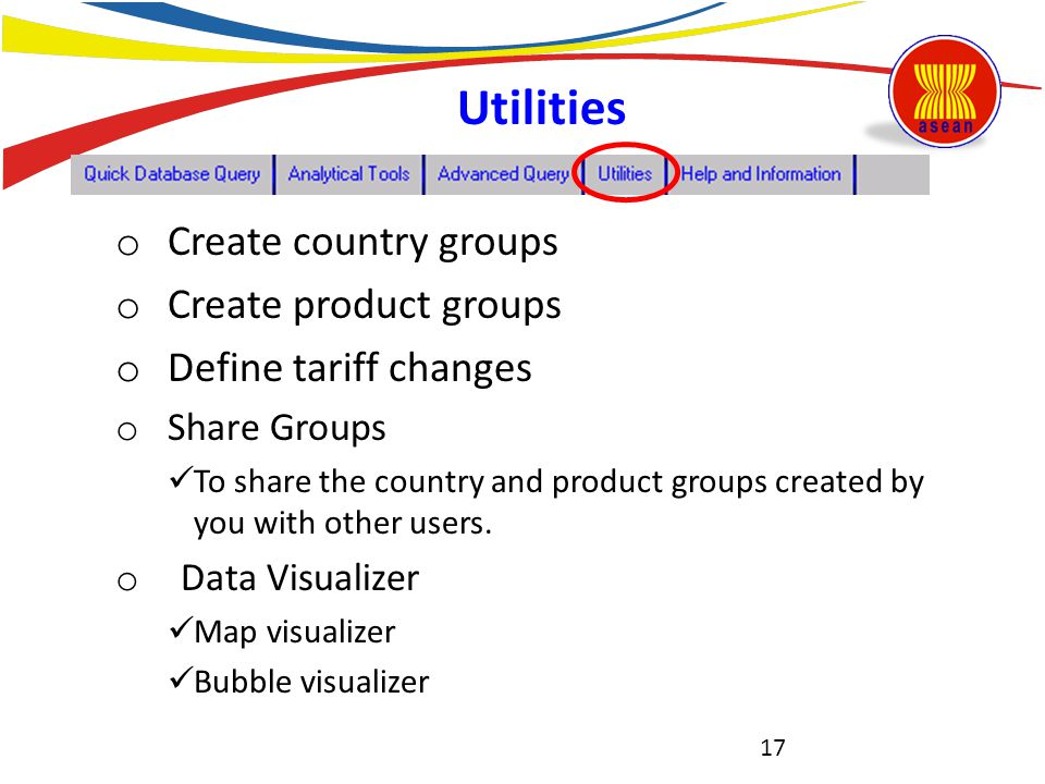 Utilities Create country groups Create product groups