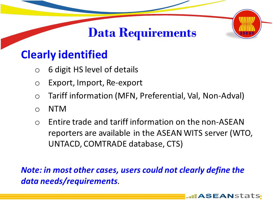 Data Requirements Clearly identified 6 digit HS level of details