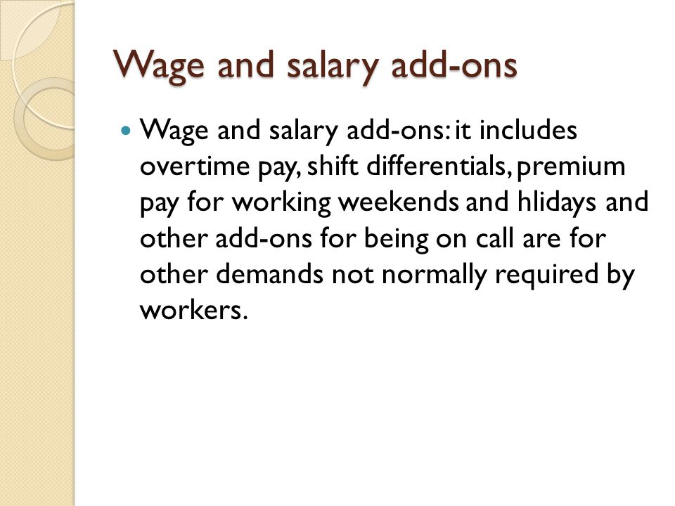 Wage and salary add-ons