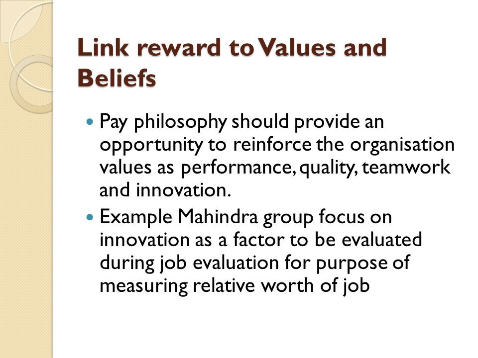 Link reward to Values and Beliefs