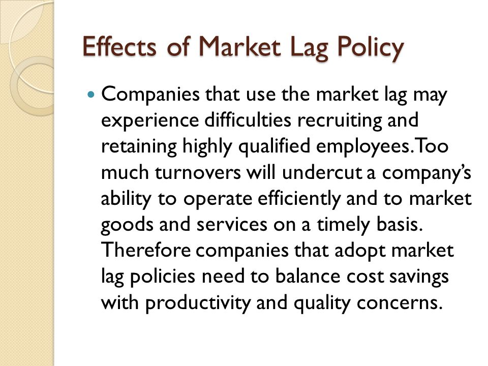 Effects of Market Lag Policy
