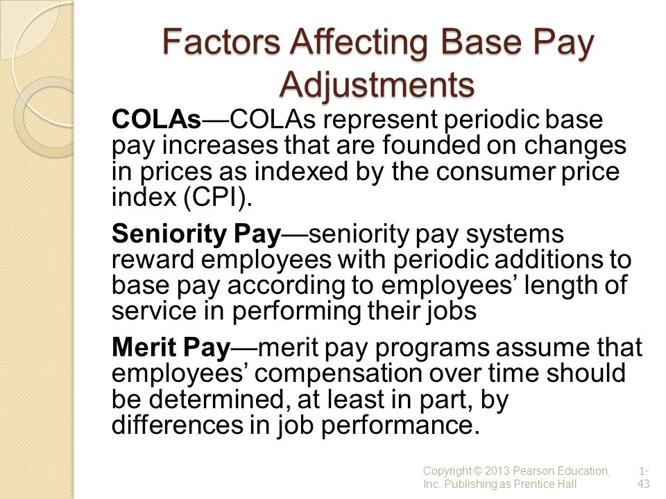 Factors Affecting Base Pay Adjustments