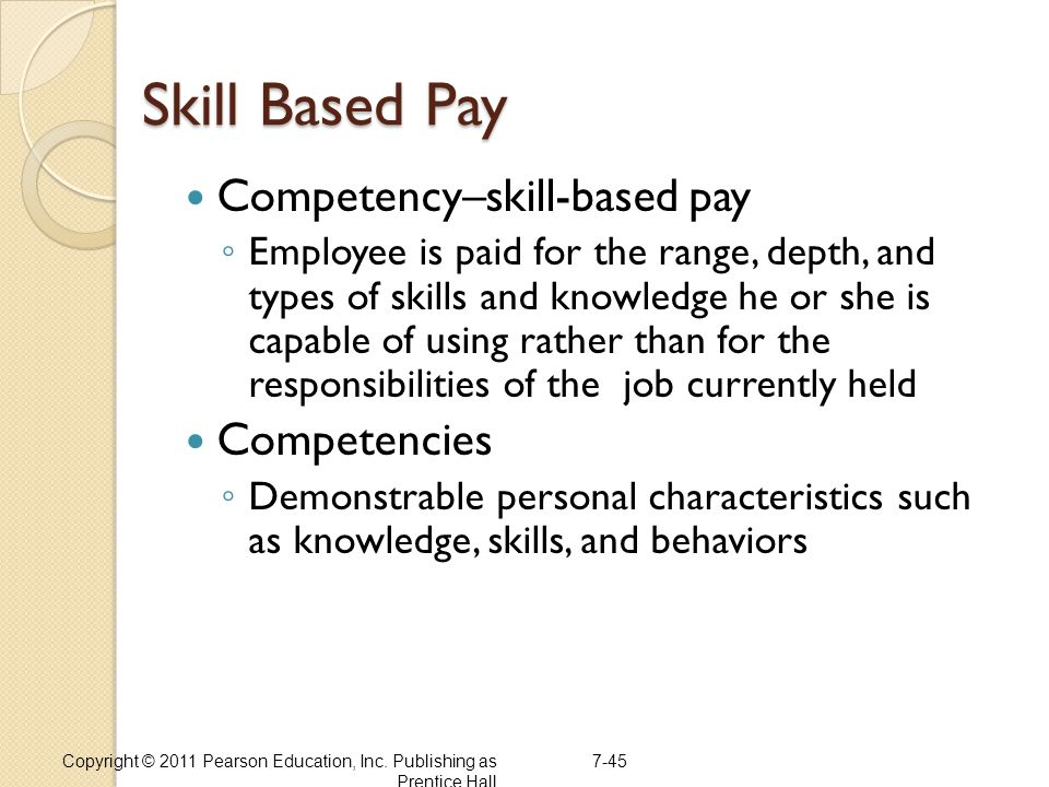 Skill Based Pay Competency–skill-based pay Competencies