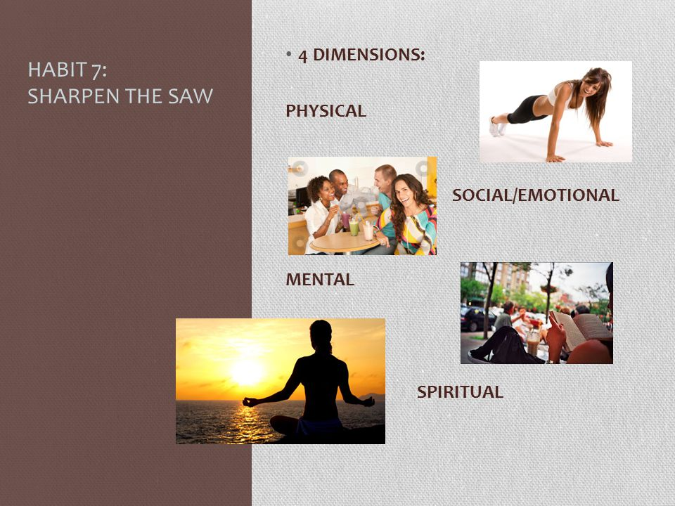 HABIT 7: SHARPEN THE SAW 4 DIMENSIONS: PHYSICAL SOCIAL/EMOTIONAL
