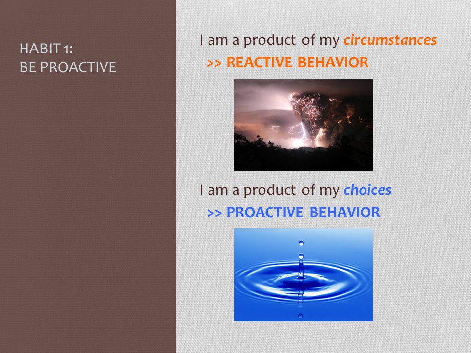HABIT 1: BE PROACTIVE I am a product of my circumstances. >> REACTIVE BEHAVIOR. I am a product of my choices.