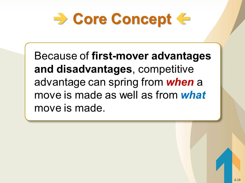 Because of first-mover advantages and disadvantages, competitive advantage can spring from when a move is made as well as from what move is made.