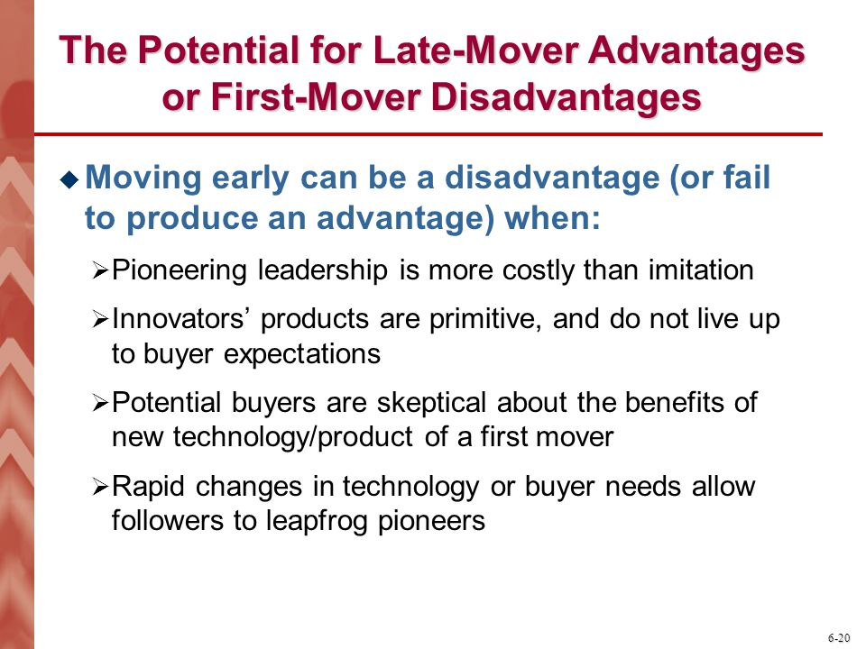 The Potential for Late-Mover Advantages or First-Mover Disadvantages
