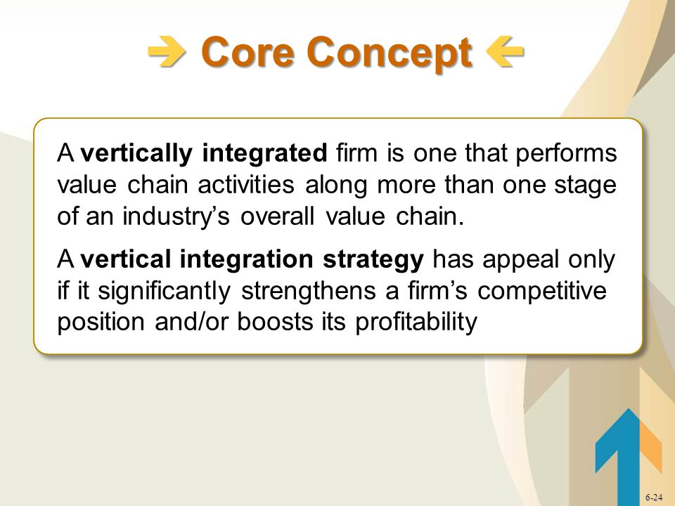 A vertically integrated firm is one that performs value chain activities along more than one stage of an industry's overall value chain.