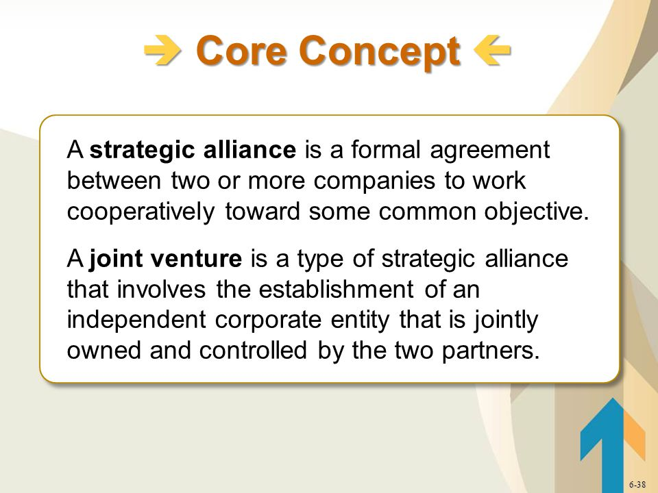 A strategic alliance is a formal agreement between two or more companies to work cooperatively toward some common objective.