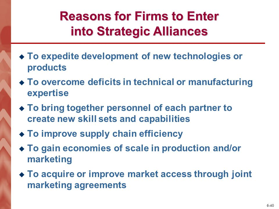 Reasons for Firms to Enter into Strategic Alliances