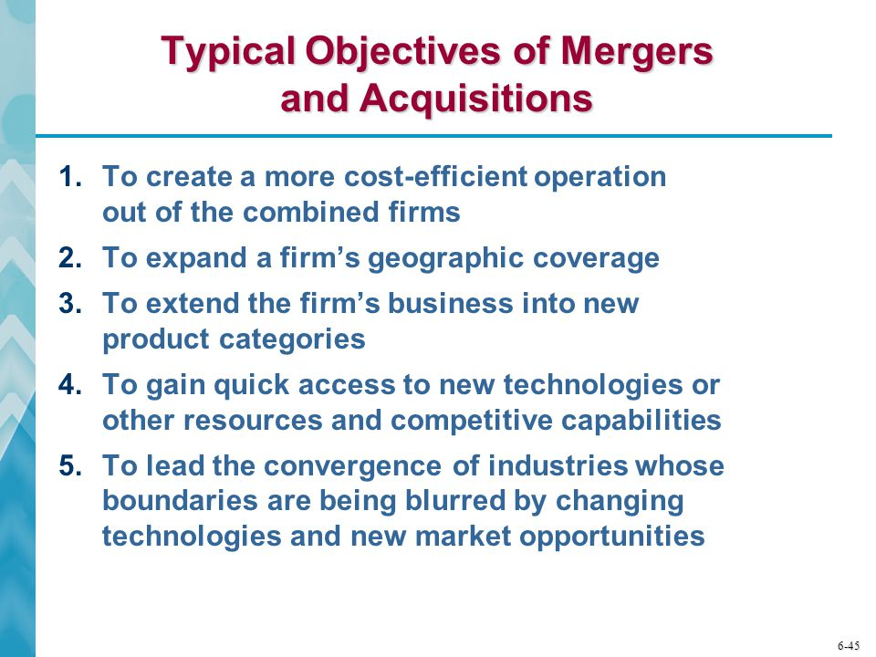 Typical Objectives of Mergers and Acquisitions