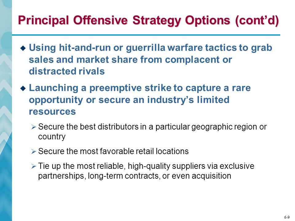 Principal Offensive Strategy Options (cont'd)