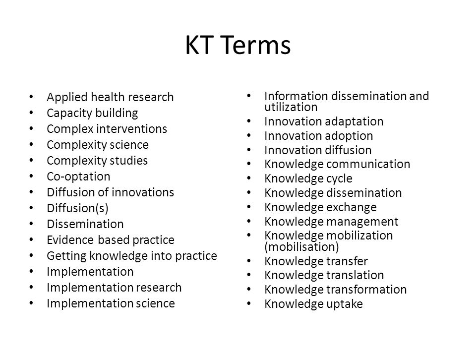 KT Terms Applied health research Capacity building