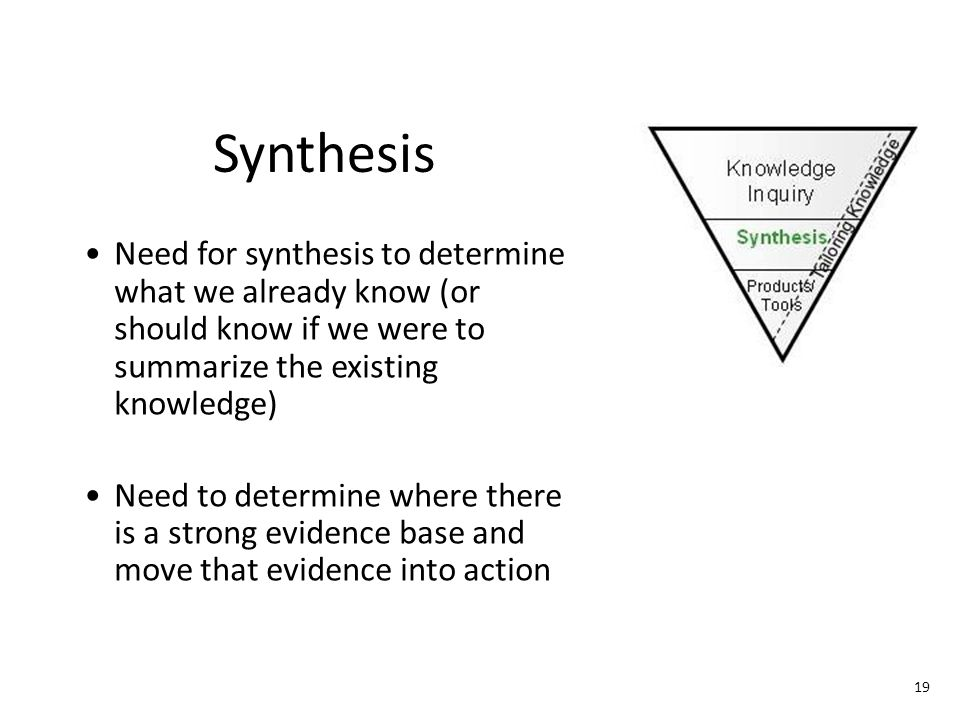 Tailoring Knowledge Synthesis. Need for synthesis to determine what we already know (or should know if we were to summarize the existing knowledge)