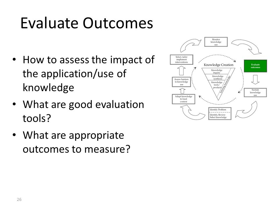 Evaluate Outcomes How to assess the impact of the application/use of knowledge. What are good evaluation tools