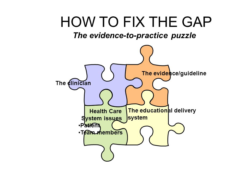 HOW TO FIX THE GAP The evidence-to-practice puzzle