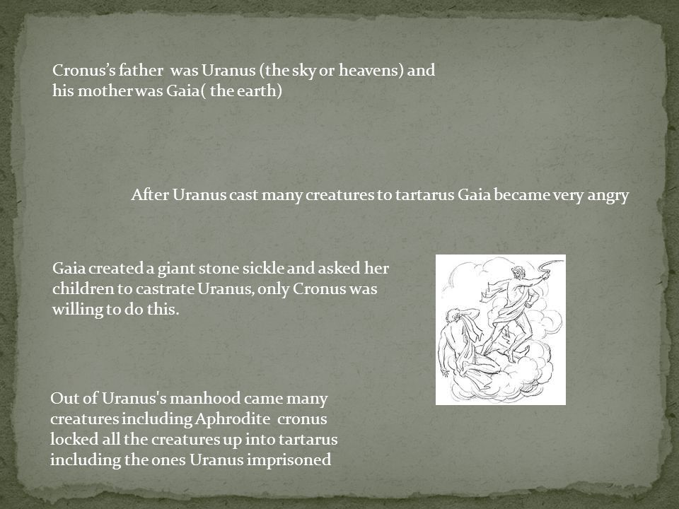 Cronus's father was Uranus (the sky or heavens) and his mother was Gaia( the earth)