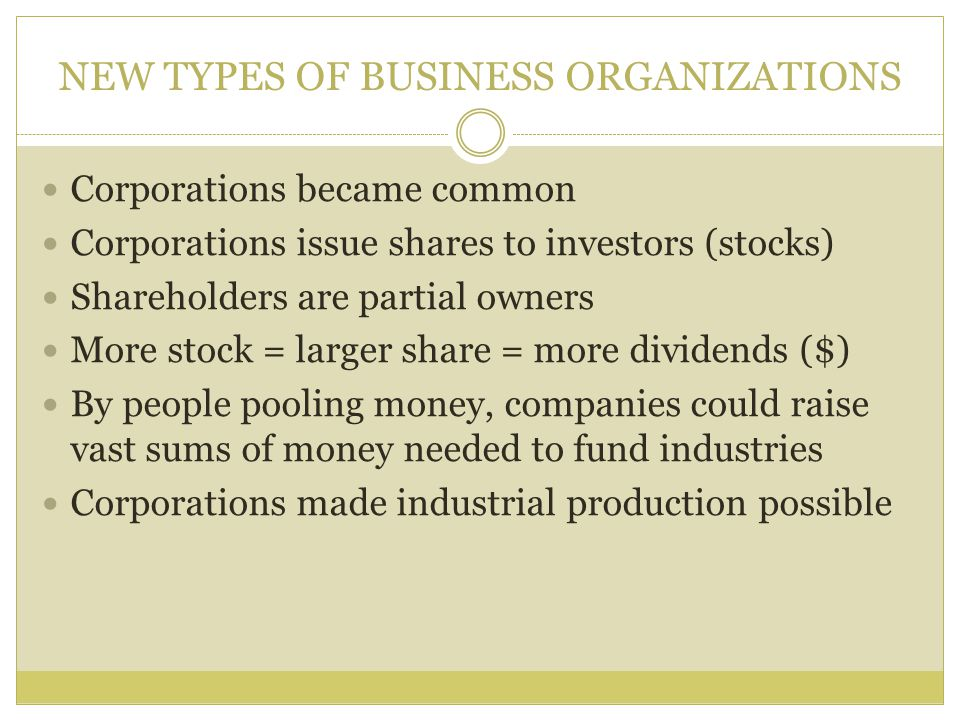 NEW TYPES OF BUSINESS ORGANIZATIONS