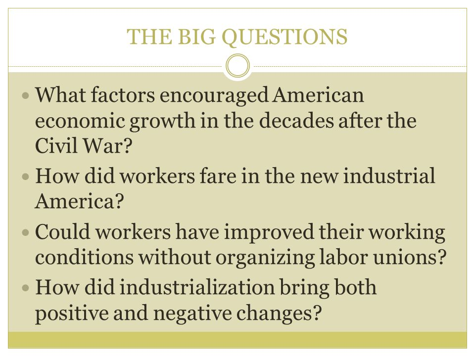 THE BIG QUESTIONS What factors encouraged American economic growth in the decades after the Civil War